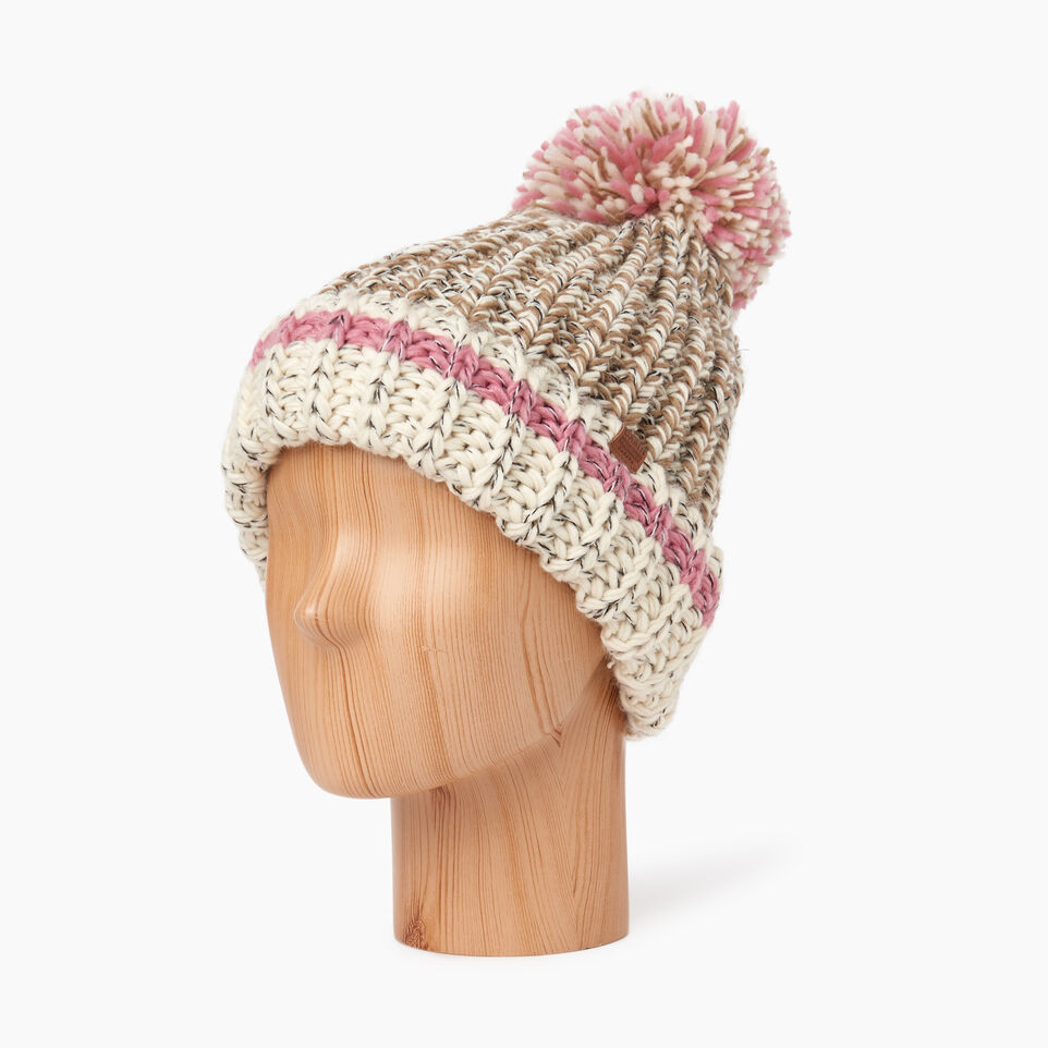 Roots-Women Hats-Chunky Cabin Pom Pom Toque-Fawn Taupe Mix-C