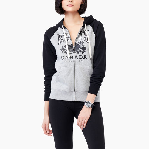 Roots-Women Sweats-Classic Colourblocked Hoody-Black-A