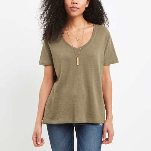 Roots-Women New Arrivals-Ruby V Neck Top-Dusty Olive-A