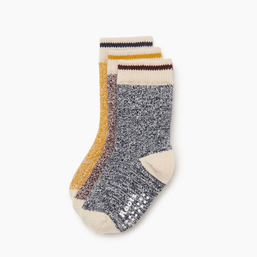 Roots-Kids Accessories-Toddler Cabin Sock 3 pack-Navy-A