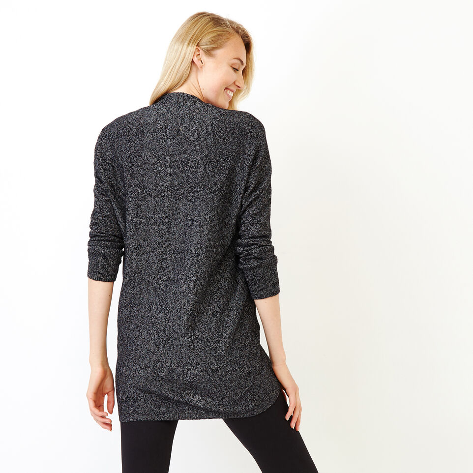 Roots-Women Categories-Snowy Fox Open Cardigan-Black Fox-D