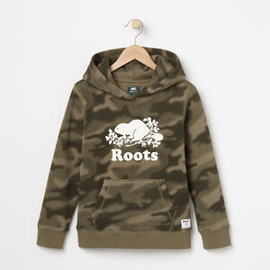 Roots-Kids Sweats-Boys Blurred Camo Kanga Hoody-Dusty Olive-A