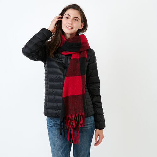 Roots-Women Scarves & Wraps-Roots Park Plaid Blanket Scarf-Cabin Red-A