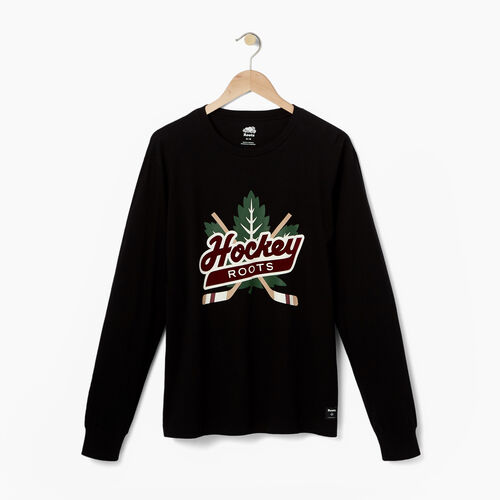 Roots-Men Our Favourite New Arrivals-Mens Hockey Icon Long Sleeve T-shirt-Black-A
