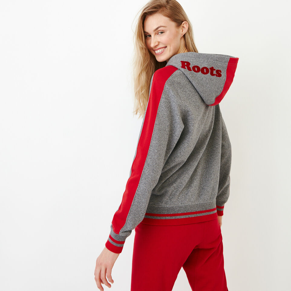 Roots-Women Our Favourite New Arrivals-Canada Full Zip Hoody-Grey Mix Pepper-D
