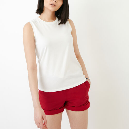 Roots-Women Tops-Essential Tank-Ivory-A
