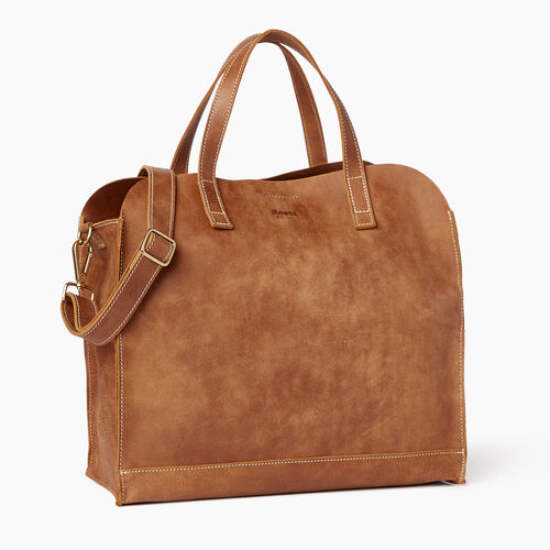Roots-Leather  Handcrafted By Us Collections-Junction Tote-Natural-A