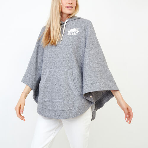 Roots-Women Categories-Fleece Poncho-Salt & Pepper-A