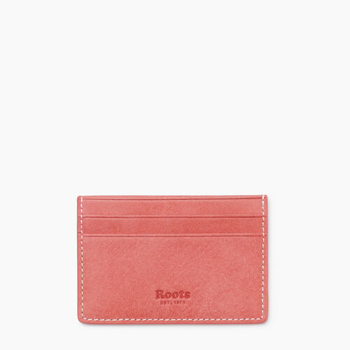 Roots-Leather New Arrivals-Card Holder Tribe-Coral-A