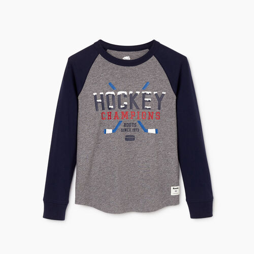 Roots-Kids Our Favourite New Arrivals-Boys Hockey Raglan T-shirt-Navy Blazer-A