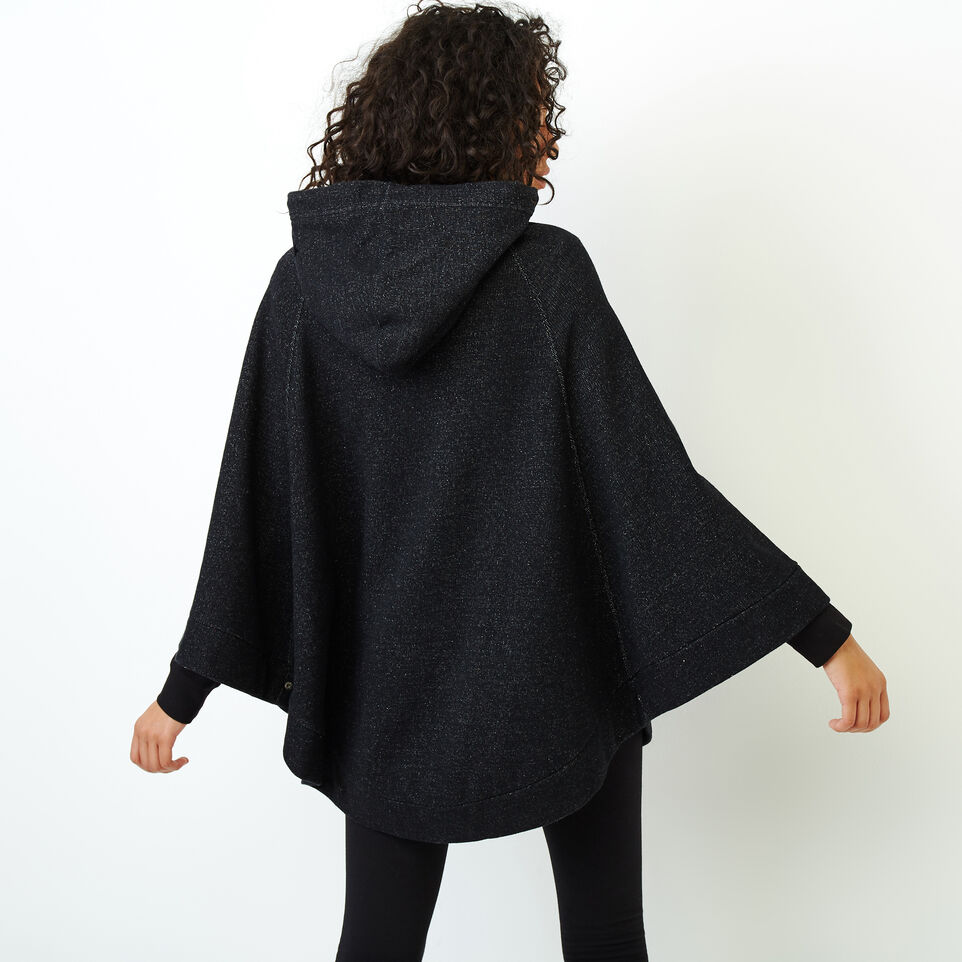 Roots-Women Categories-Fleece Poncho-Black Pepper-D