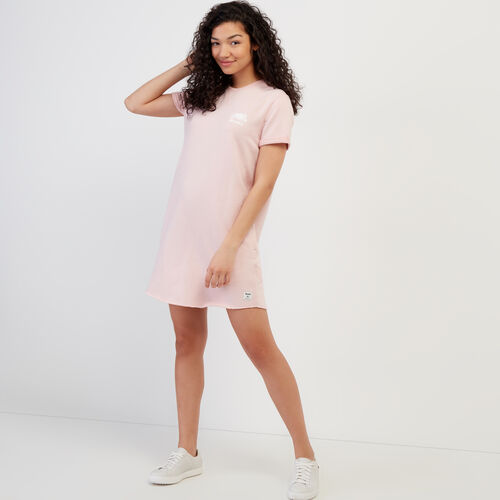 Roots-Women Clothing-Edith Cuffed Dress-Silver Pink Pepper-A