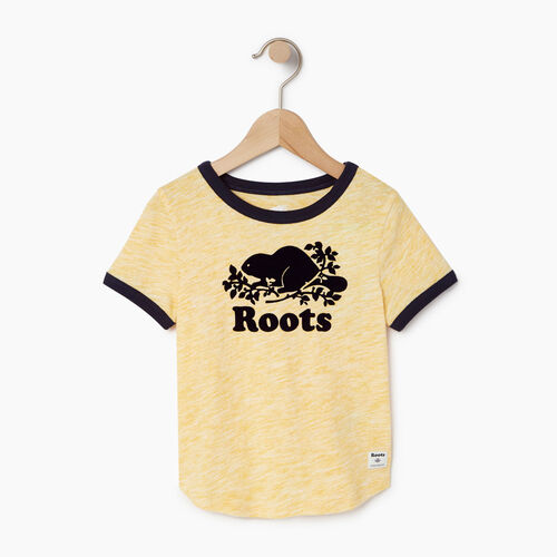 Roots-Kids T-shirts-Toddler Roots Space Dye T-shirt-Sunset Yellow-A