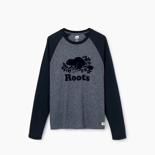 Roots-Men Graphic T-shirts-Mens Cooper Beaver Raglan Longsleeve T-shirt-Navy Blazer Pepper-A