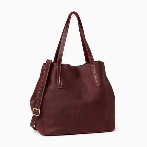 Roots-Leather  Handcrafted By Us Handbags-Amelia Tote-Crimson-A