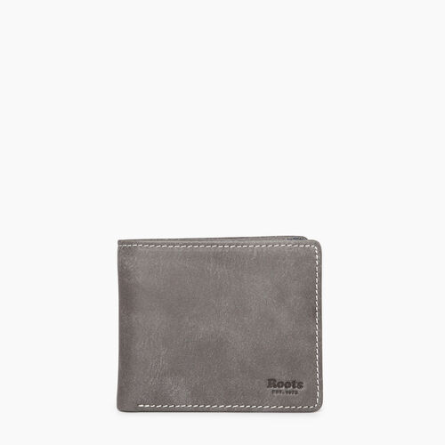 Roots-Leather  Handcrafted By Us Categories-Mens Slimfold Sideflap Tribe - Colour Block-Charcoal-A