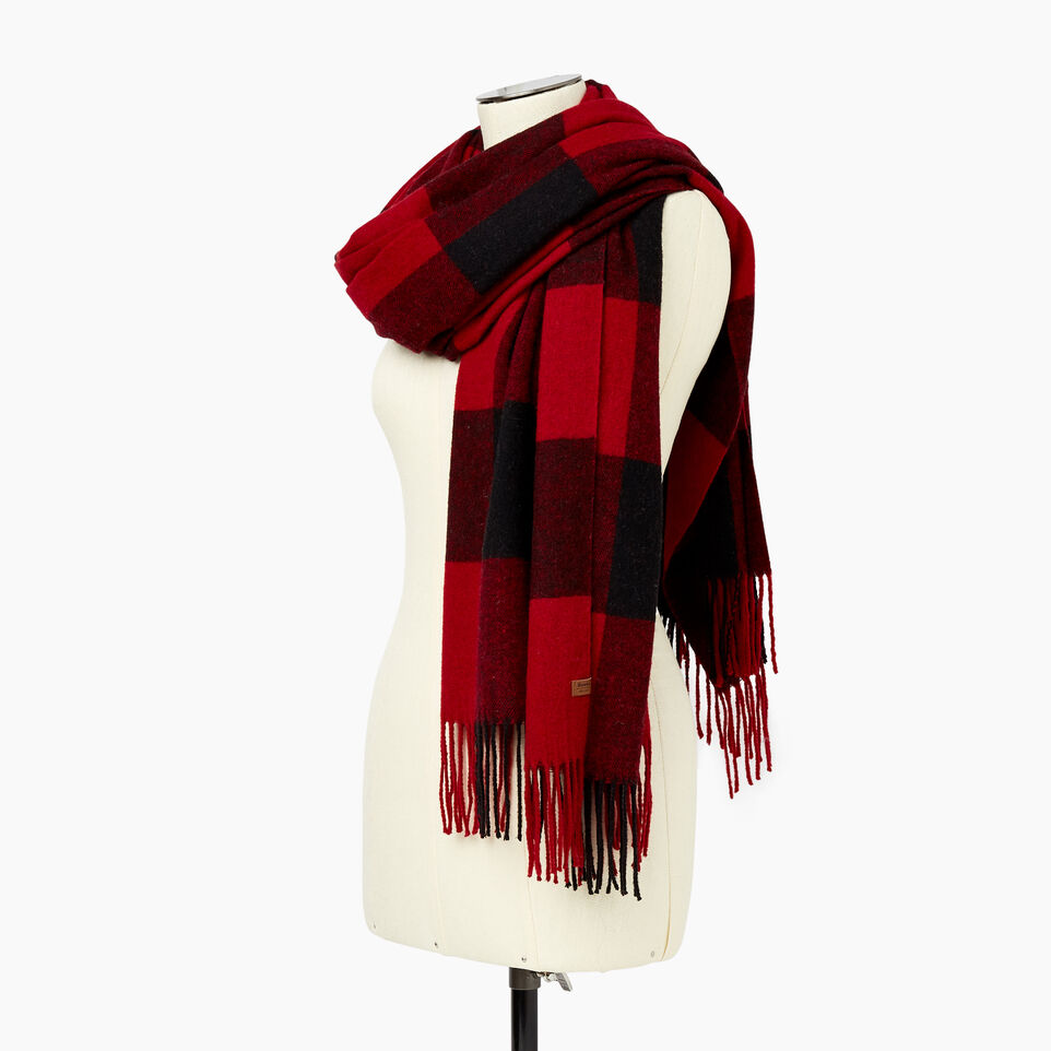 Roots-Women Categories-Roots Park Plaid Blanket Scarf-Cabin Red-C
