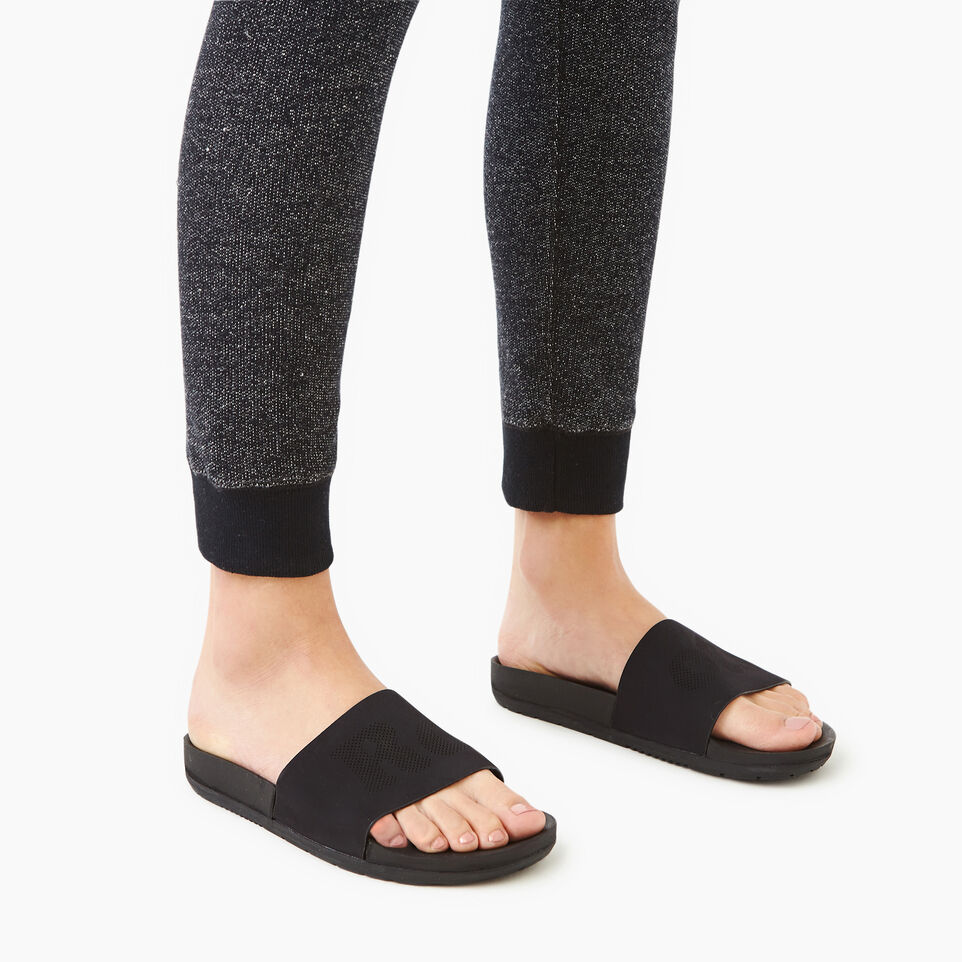 Roots-Women Footwear-Womens Long Beach Pool Slide-Black-B