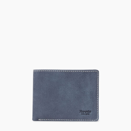 Roots-Leather Tribe Leather-Mens Slimfold Sideflap Tribe-Navy-A