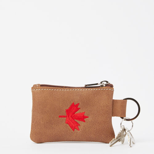 Roots-New For May Leather-Maple Leaf Top Zip Pouch Tribe-Natural-A