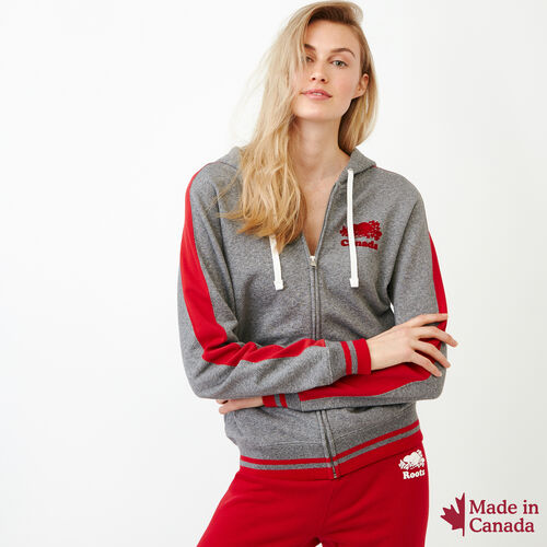 Roots-Women Canada Collection By Roots™-Canada Full Zip Hoody-Grey Mix Pepper-A