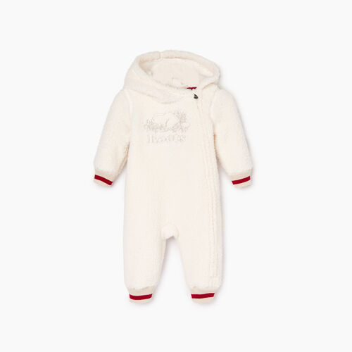 Roots-Kids Baby Girl-Baby Roots Cabin Sherpa Romper-Natural-A
