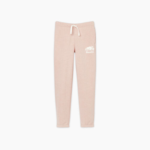 Roots-Kids Bottoms-Girls Original Roots Sweatpant-Pale Mauve Pepper-A
