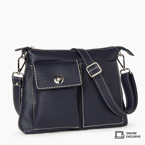 Roots-Leather Crossbody-The Villager Cervino-Navy-A