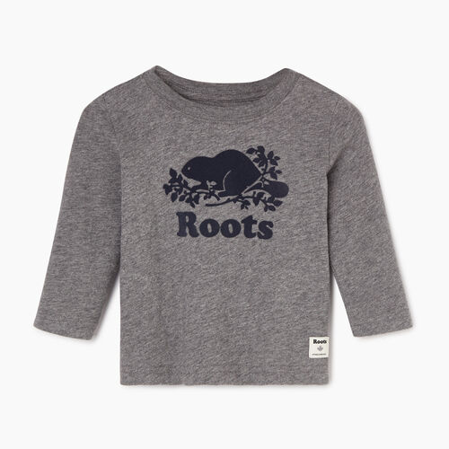 Roots-Sale Kids-Baby Original Cooper Beaver T-shirt-Medium Grey Mix-A