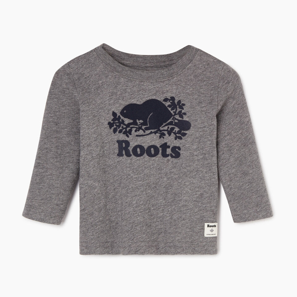 Roots-Kids Our Favourite New Arrivals-Baby Original Cooper Beaver T-shirt-Medium Grey Mix-A
