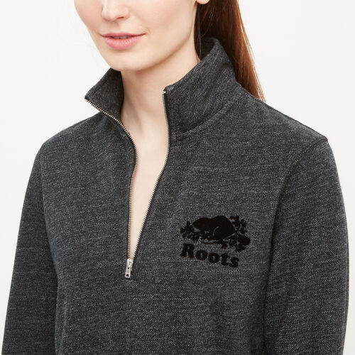Roots-Women Sweats-Mabel Lake Zip Stein-Black Pepper-A