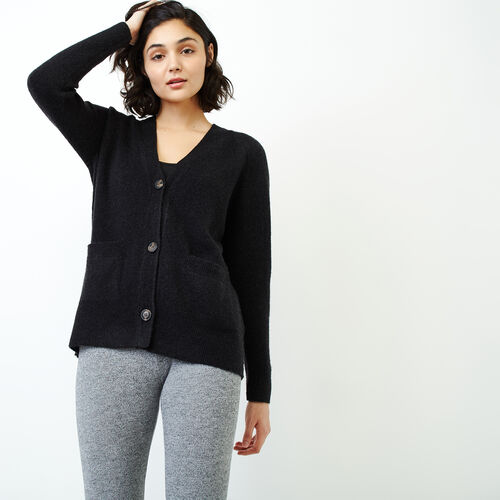 Roots-Women Sweaters & Cardigans-Hemlock Button Cardigan-Black Mix-A