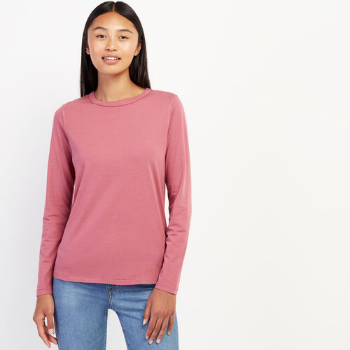 Roots-Women Tops-Essential Long Sleeve Top-Hawthorn Rose-A