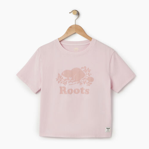Roots-Women Graphic T-shirts-Womens Sunkissed T-shirt-Pink Mist-A