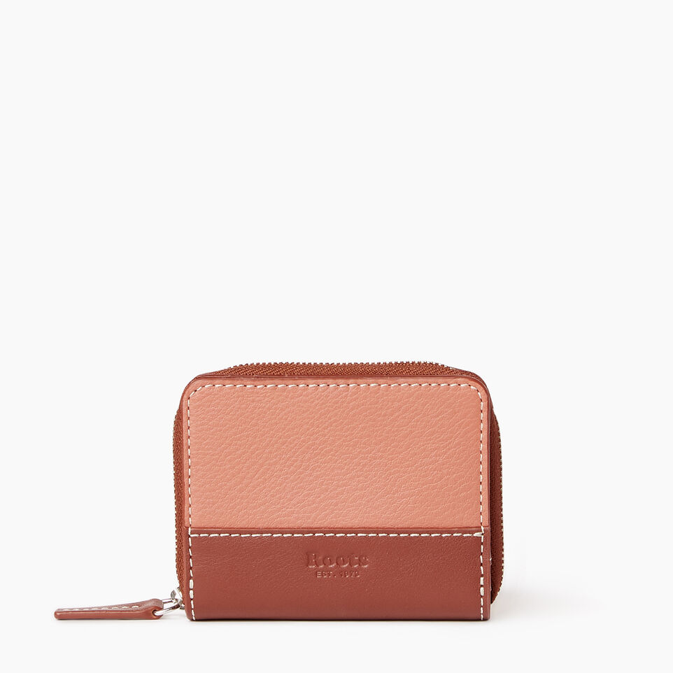Roots-Leather Our Favourite New Arrivals-Small Zip Wallet-Canyon Rose/oak-A