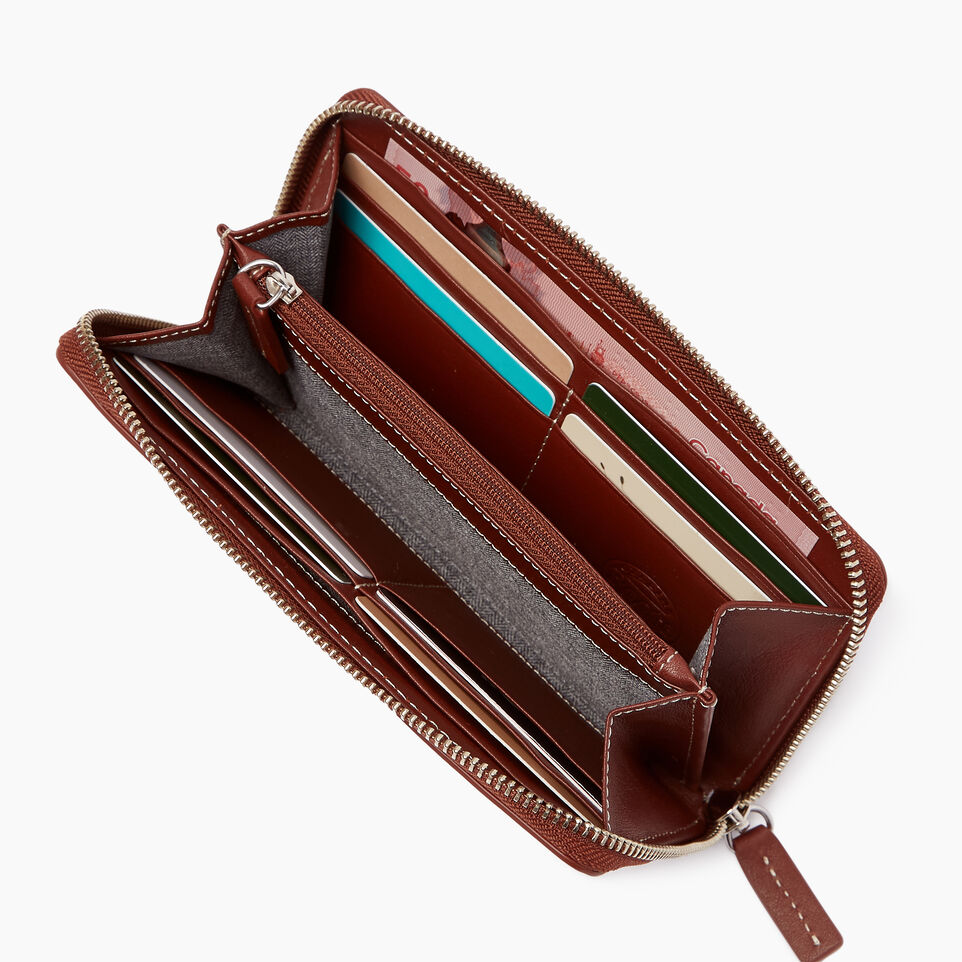 Roots-Leather Categories-Zip Around Wallet-Canyon Rose/oak-B