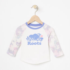 Roots-Kids T-shirts-Baby Watercolour Baseball Top-Cloudy White-A