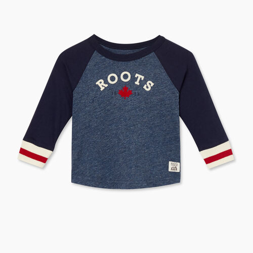 Roots-Kids T-shirts-Baby Cabin Baseball T-shirt-Navy Blazer-A