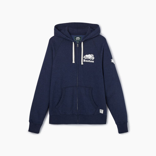 Roots-New For September City Collection-Boston Full Zip Hoody - Mens-Blue Iris Pepper-A