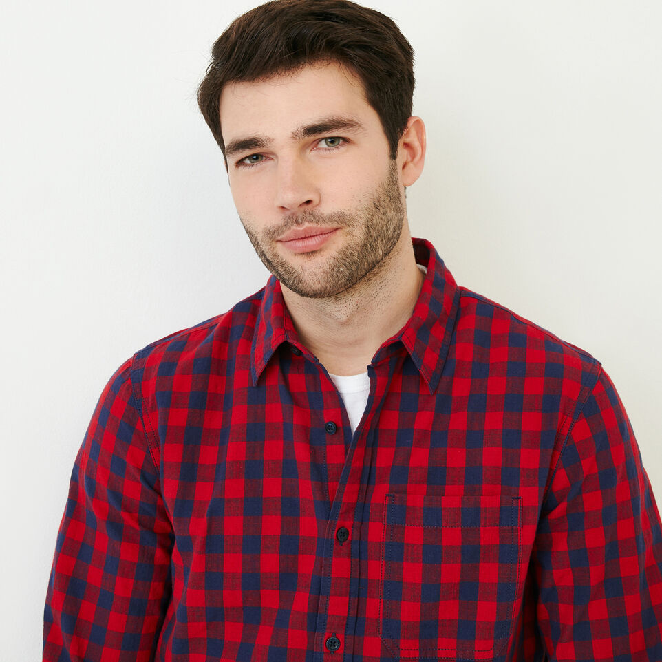 Roots-Men Shirts & Polos-White Pine Long Sleeve Shirt-Sage Red-D
