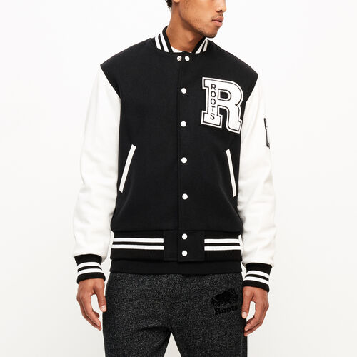 Roots-Men Clothing-Vintage Award Jacket-Black & White-A