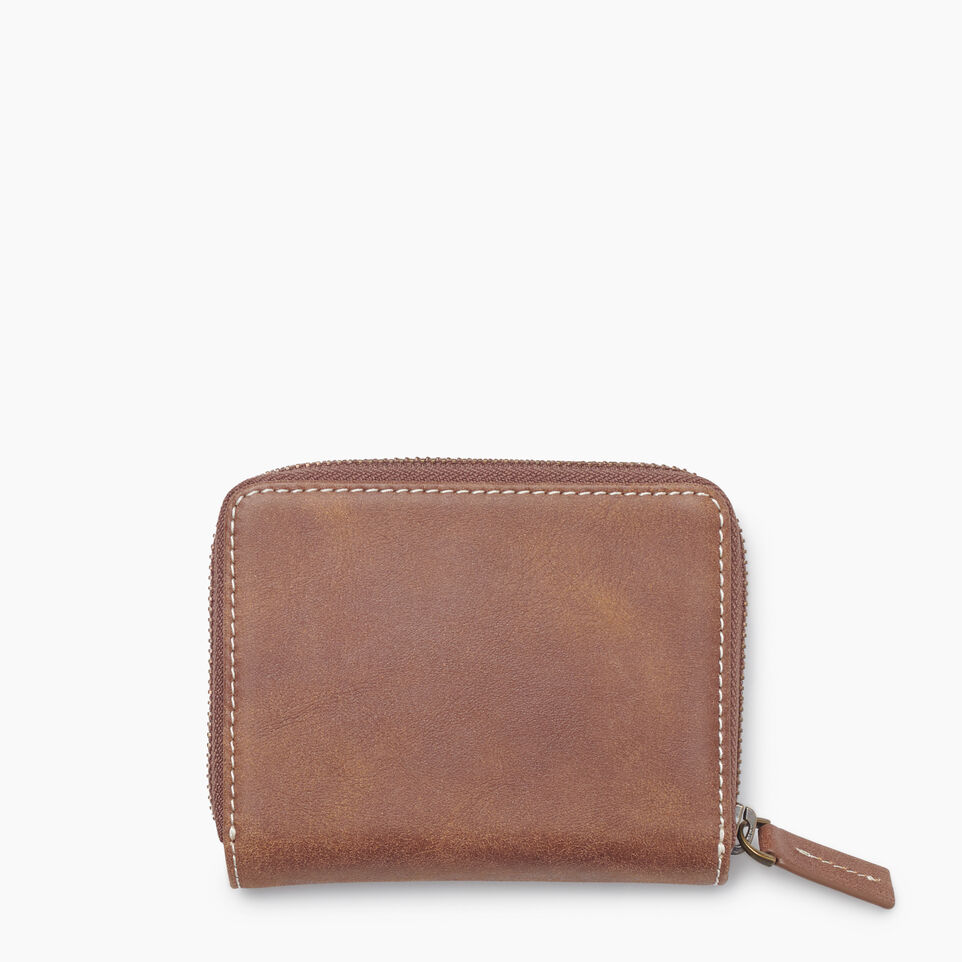 Roots-Leather Tribe Leather-Small Zip Wallet Tribe-Natural-B
