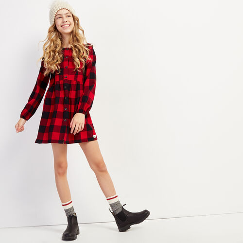 Roots-New For November Kids-Girls Park Plaid Flannel Dress-Cabin Red-A