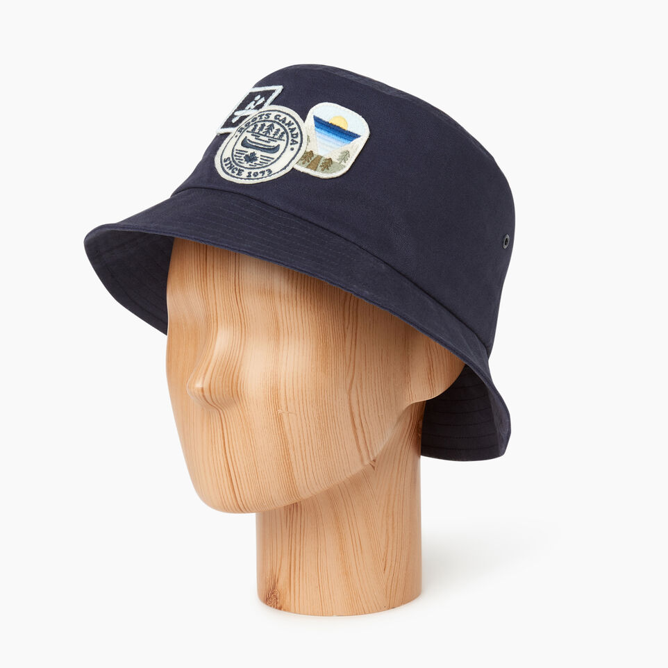 Roots-Men Our Favourite New Arrivals-Badges Bucket Hat-Navy-B