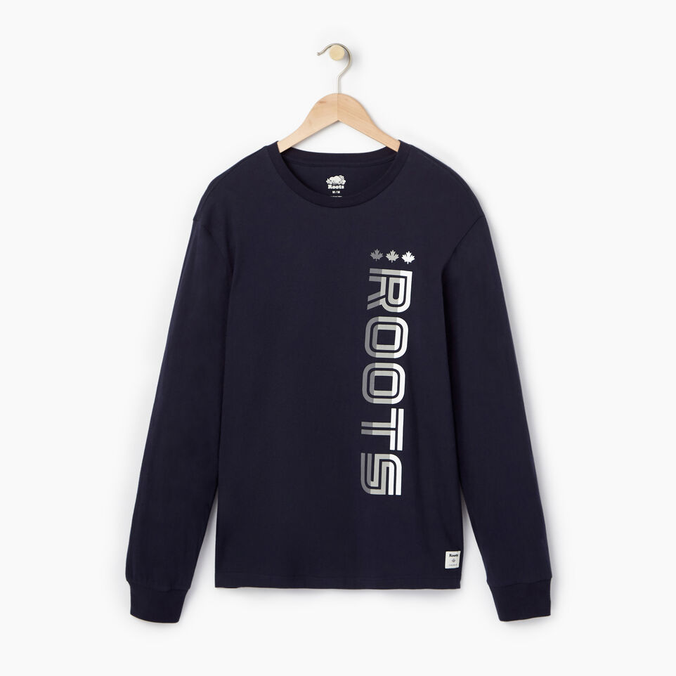 Roots-Men Our Favourite New Arrivals-Mens Roots Sport Long Sleeve T-shirt-Navy Blazer-A