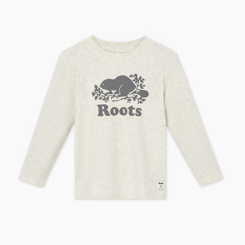 Roots-Kids Tops-Toddler Original Cooper Beaver T-shirt-White Grey Mix-A