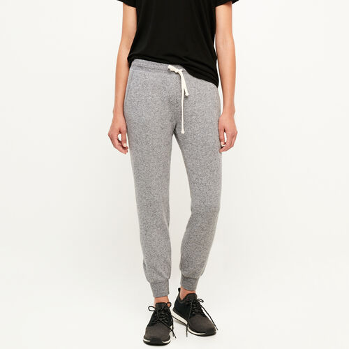 Roots-Women Bottoms-Cozy Fleece Slim Sweatpant-Salt & Pepper-A