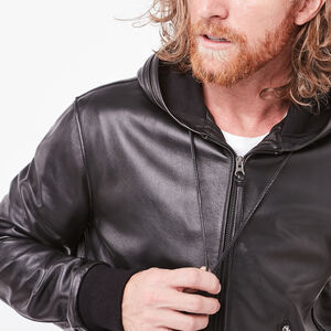Roots-Men Leather Jackets-The Hoody Lamba-Black-A