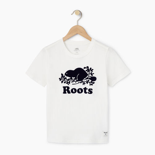 Roots-Sale Boys-Boys Original Cooper Beaver T-shirt-Cloudy White-A