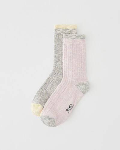 Roots-Kids Accessories-Kids Woodland Sock 2 Pack-Pink Mix-A